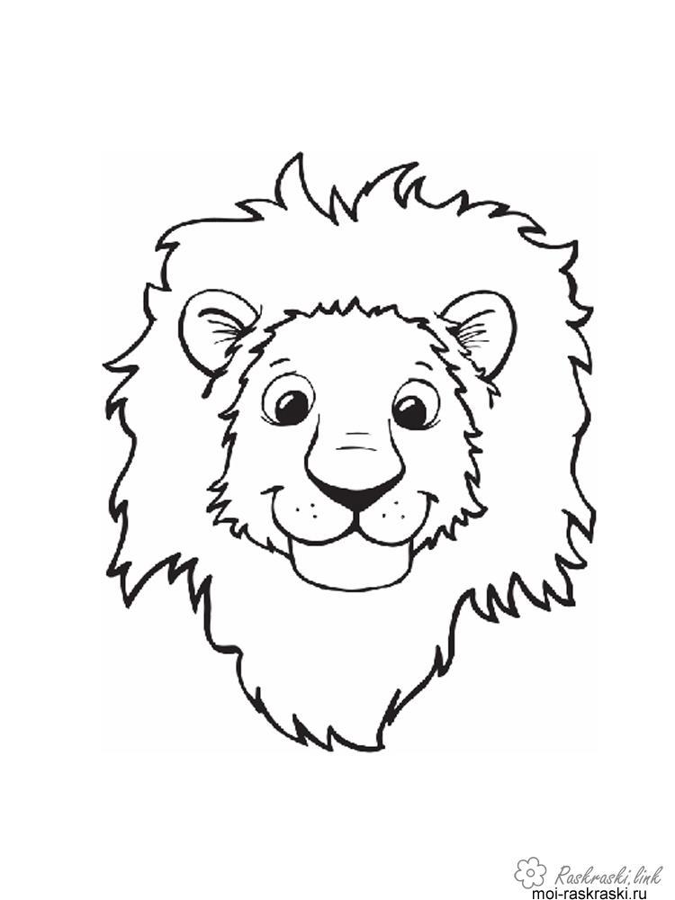 Розмальовки Лев розфарбування левову мордочка, для дітей