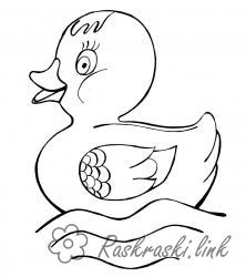 Coloring duckling coloring pages for children, duckling, water, duck