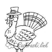 Coloring Indjuk turkey hat, coloring pages for kids