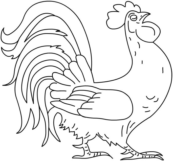 Розмальовки Курка і півень важливий півник, для дітей, розмальовки