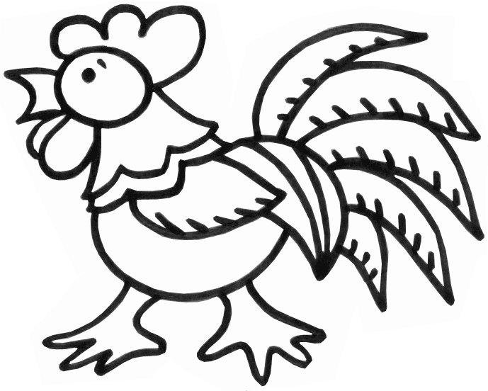 Розмальовки Курка і півень півень, розмальовки для дітей