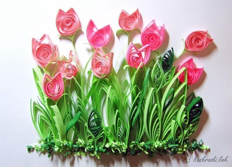 Розмальовки Аплікації по святах аплікації, тюльпани, квіти, березень