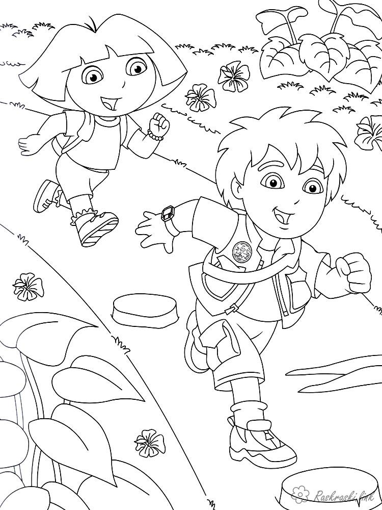 Coloring Shutting Diego Diego and Daro run for adventure