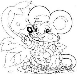 Coloring Connect by dots free printables beautiful little mouse