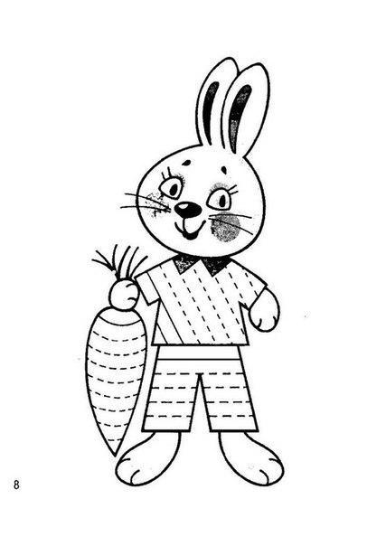 Розмальовки Штрихування для дітей заєць