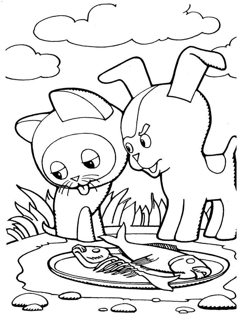 Розмальовки Вітчизняні мультфільми розмальовки до мультика кошеня гав