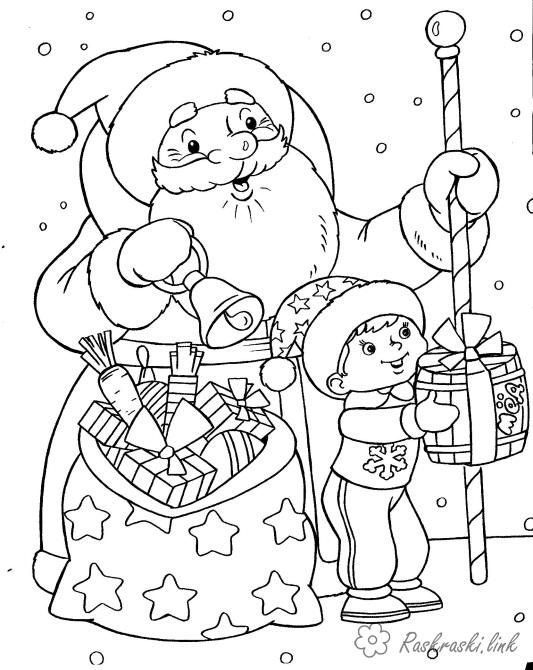 Coloring New Year coloring pages books for children, black and white pictures, new year, holiday, winter