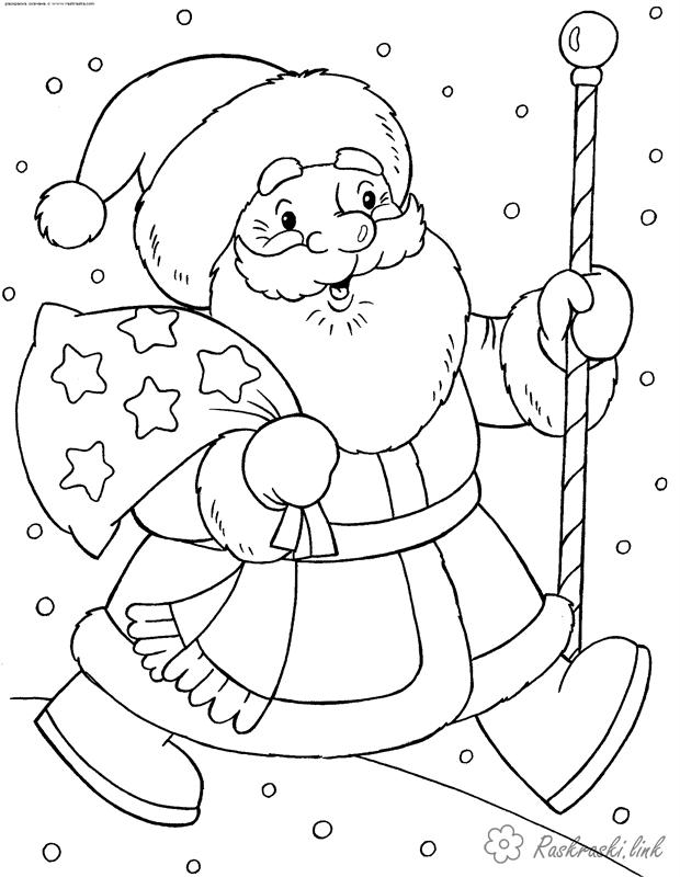 Coloring holidays coloring pages books for children, black and white pictures, new year, holiday, winter