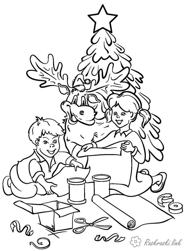 Coloring New Year coloring pages books for children, black and white pictures, new year, holiday, winter, children
