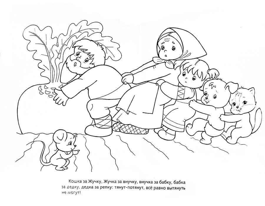 Розмальовки Розмальовки по казках розмальовки за казкою ріпка, розмальовки героїв казки ріпка, роздрукувати