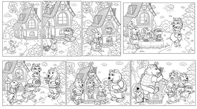 Розмальовки Розмальовки по казках розмальовки за казкою теремок, казка теремок розфарбування роздрукувати
