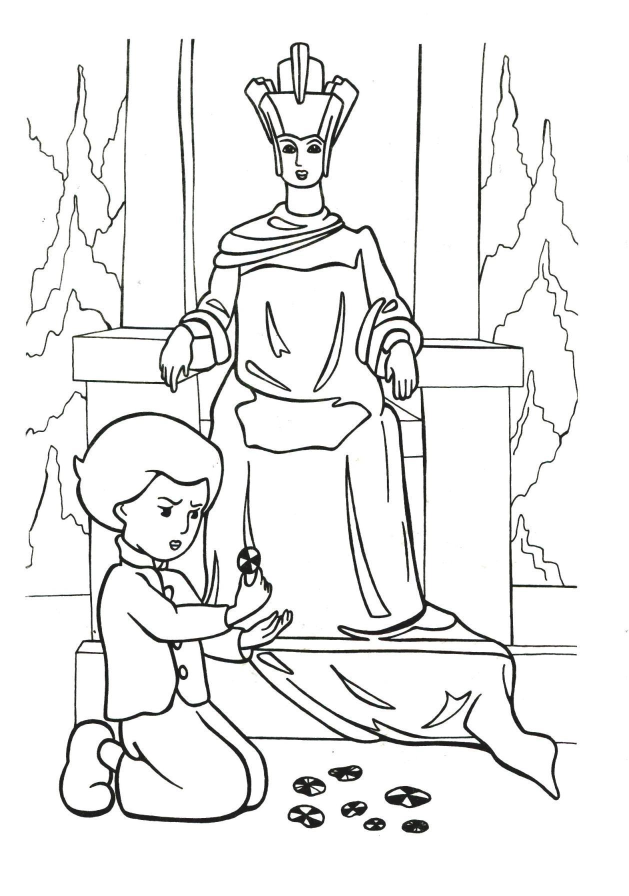 Розмальовки Розмальовки по казках розмальовки за казкою снігова королева, герда, ілюстрації снігова коро...