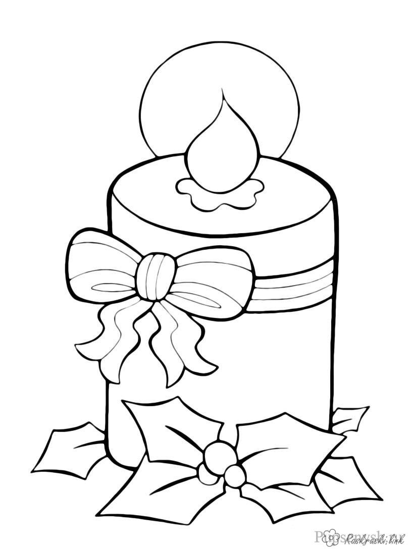 Coloring New Year coloring pages books for children, black and white pictures, new year, holiday, winter, candle