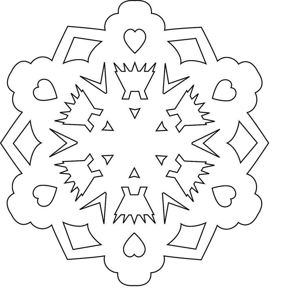 Раскраски вырезания Белая снежинка из бумаги