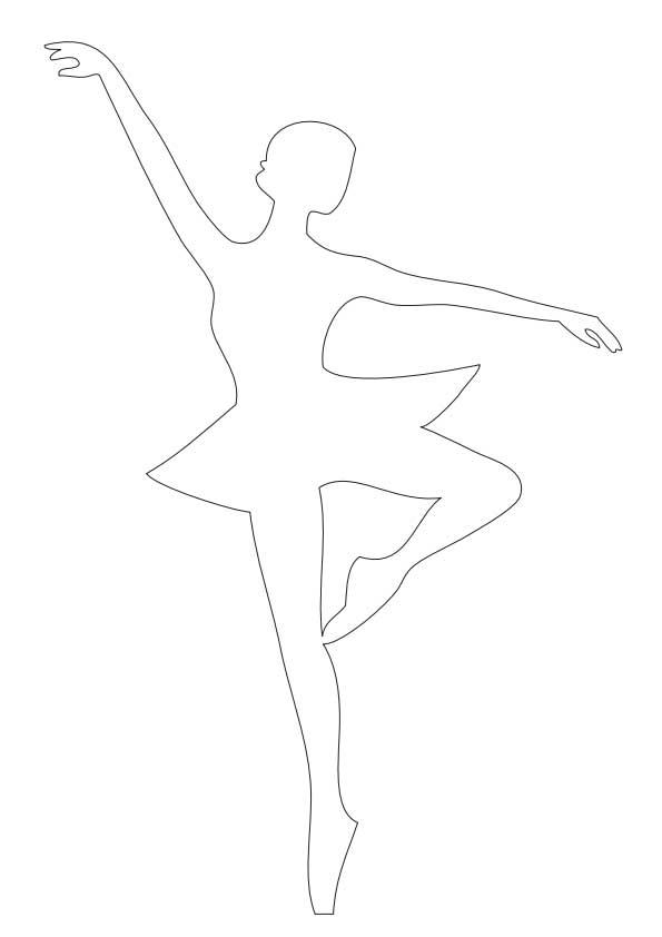 Розмальовки Шаблони трафарети контури балерини для вирізання з паперу