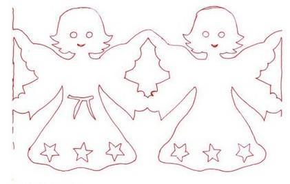 Розмальовки Шаблони трафарети контури шаблон, гірлянди, новорічні, симетричне вирізування