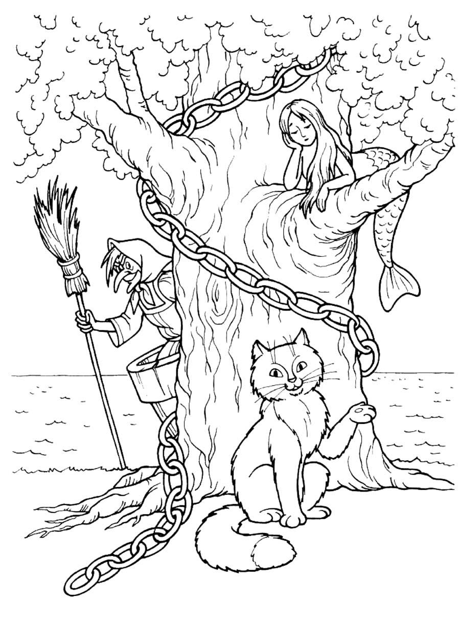 Coloring coloring pages tales of Pushkin There stands a green oak; A gilded chain on the oak tree: Day and night the cat scientist All walks on a chain round;