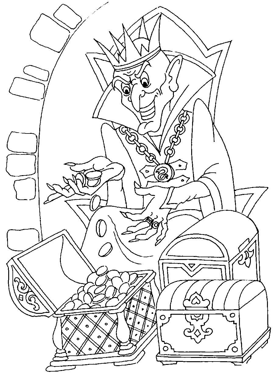 Coloring coloring pages tales of Pushkin There the king Kashchei over with gold languishes; There are Russian spirit ... there is smell of Russia