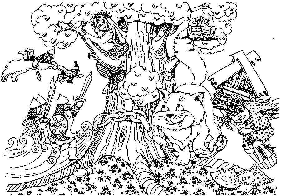 Coloring coloring pages tales of Pushkin And there I was, and I drank honey; We saw sea green oak;