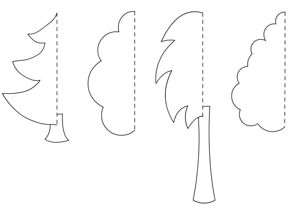 Coloring Trees for cutting paper cut paper birch oak maple tree