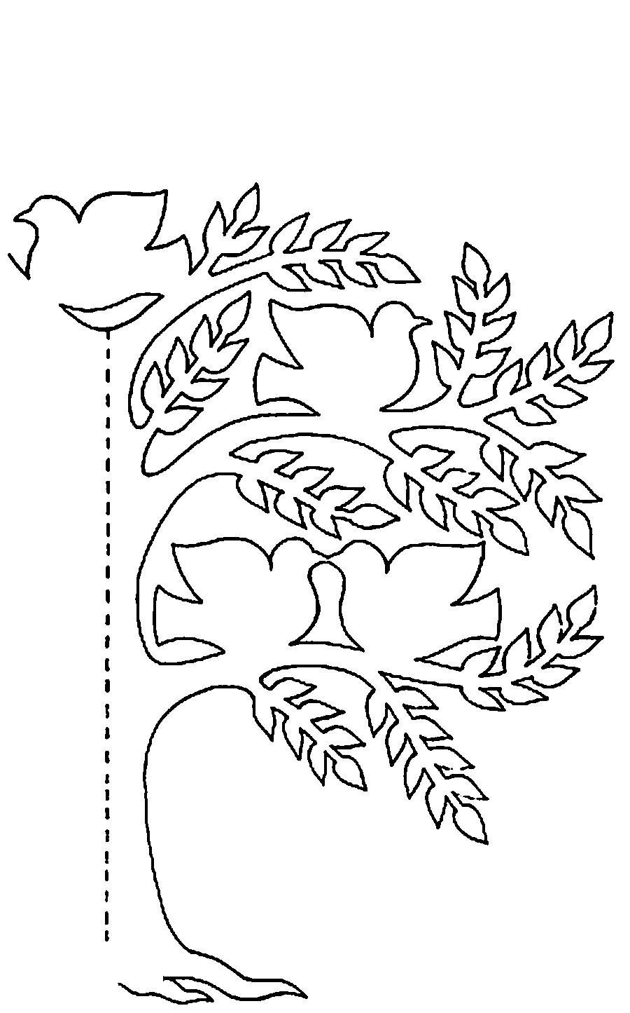 Coloring Trees for cutting paper half wood for cutting