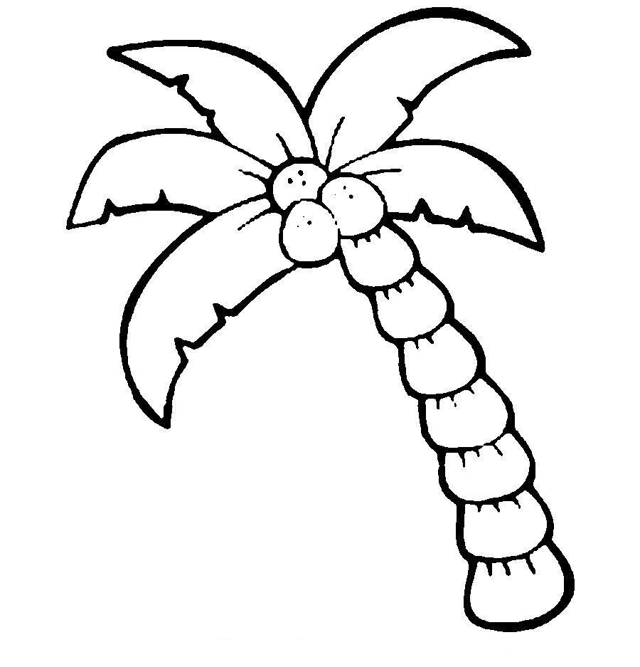 Раскраски вырезания трафарет пальмы, контур пальмы