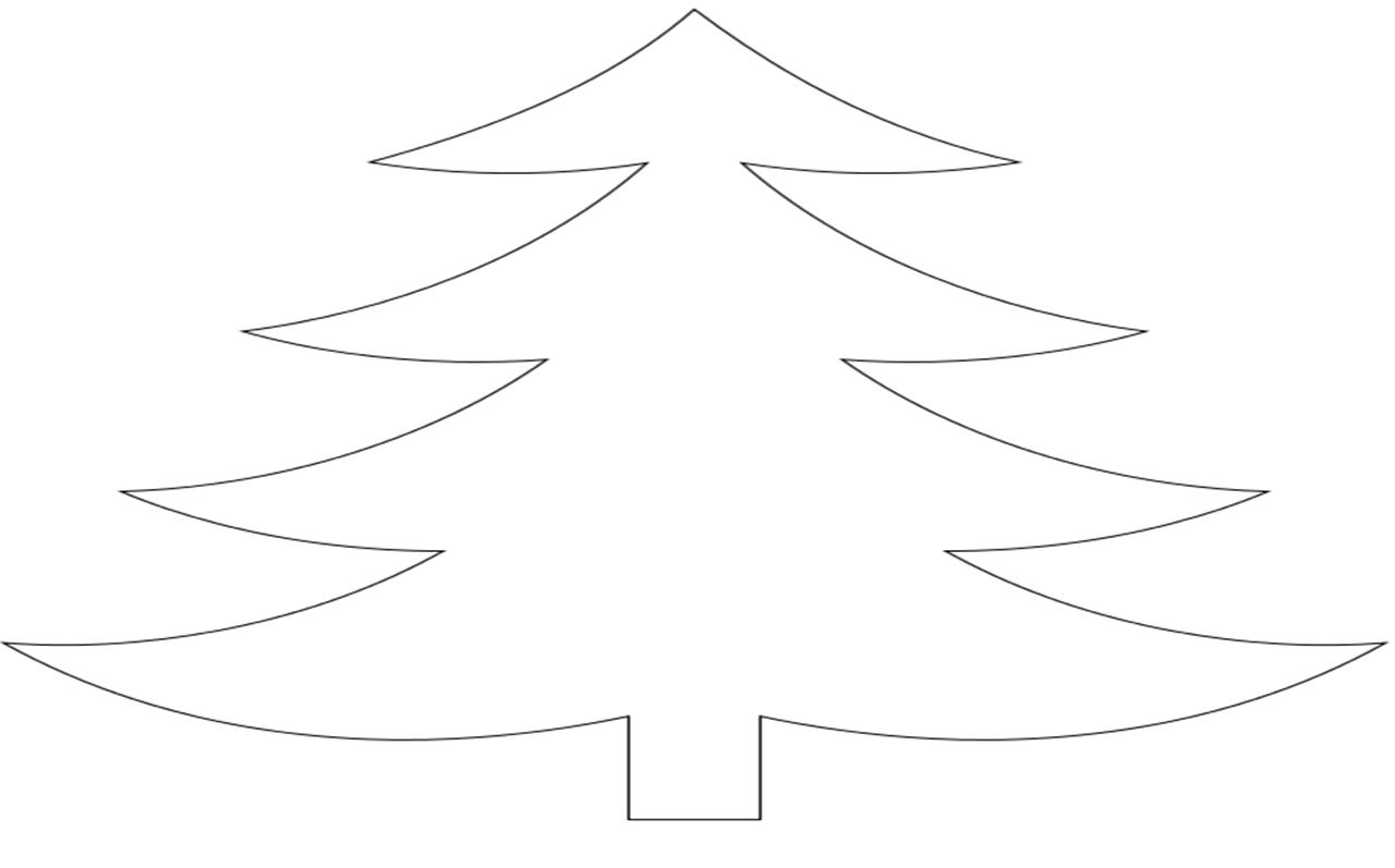 Coloring Christmas tree pattern to cut paper outline tree, cut the tree out of paper. We make out the premises for the new year