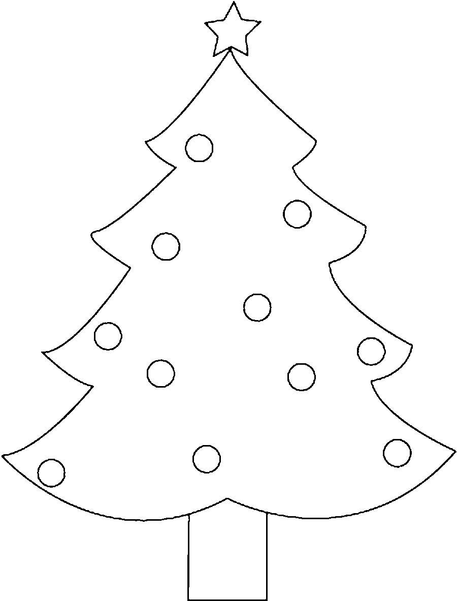 Coloring Christmas tree pattern to cut paper Christmas tree
