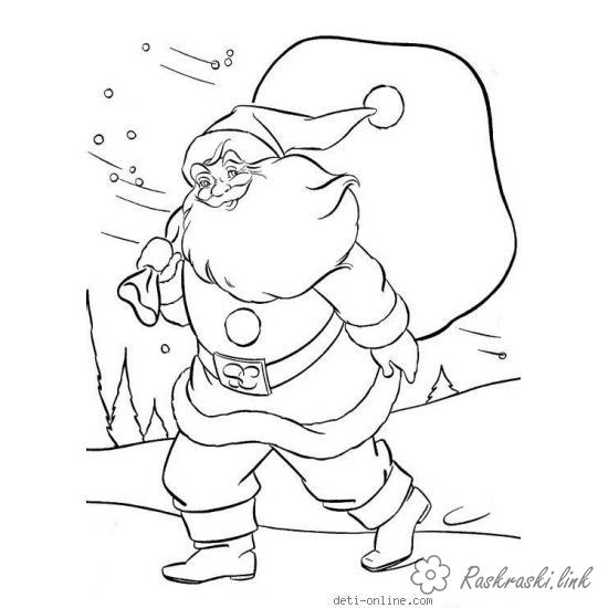 Coloring gifts coloring pages books for children, black and white pictures, new year, holiday, winter, santa claus, gifts