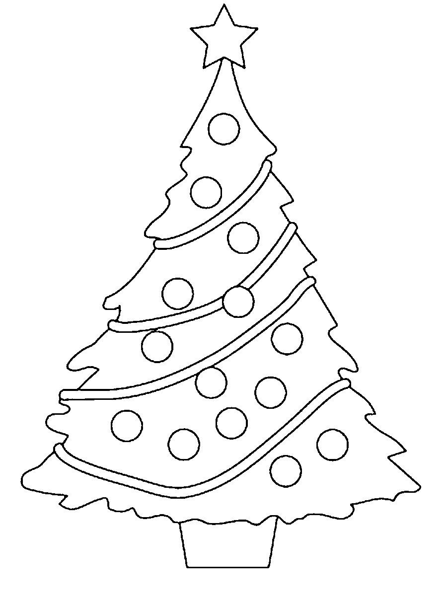 Coloring Christmas tree pattern to cut paper tinsel tree new year