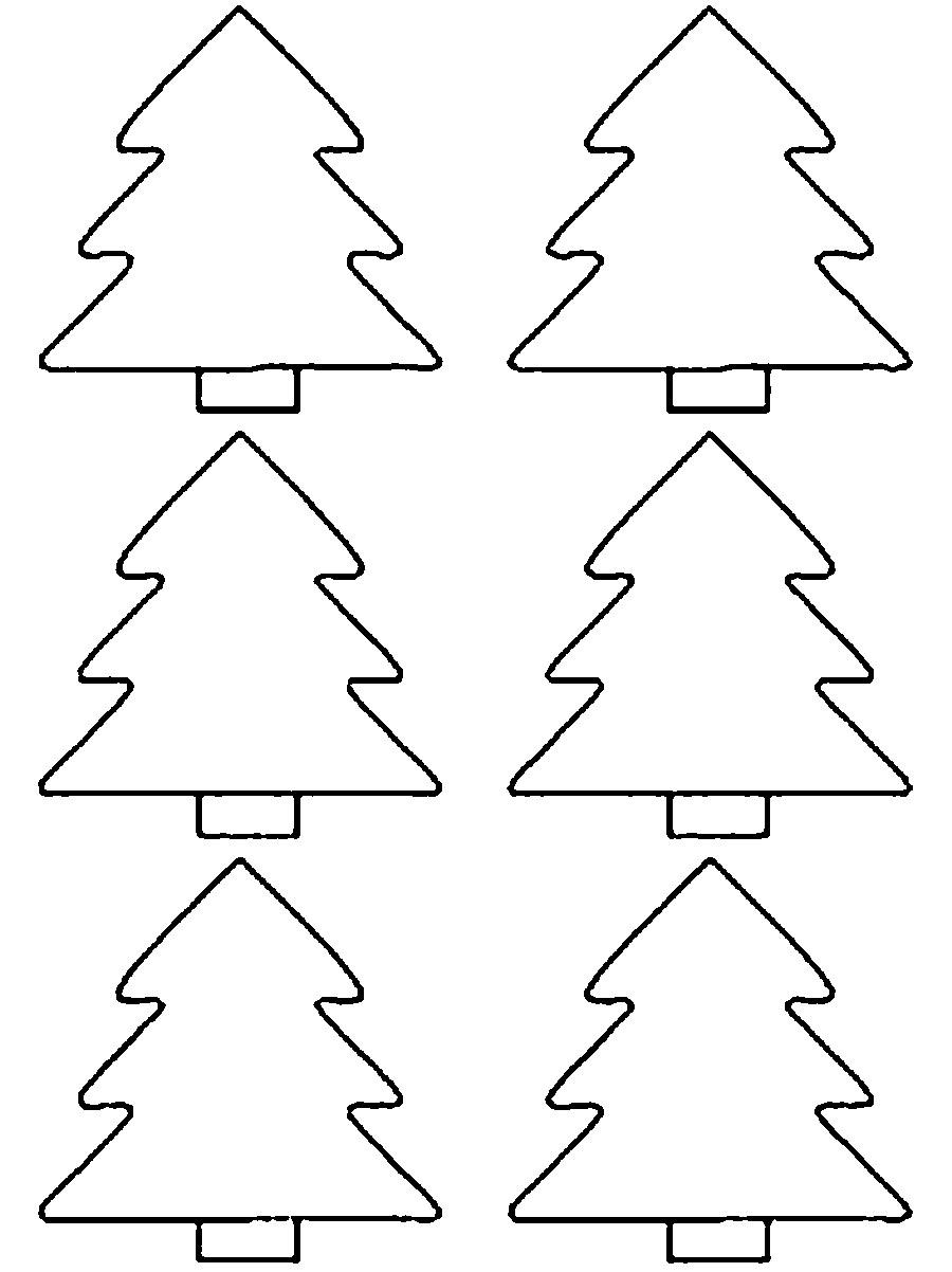 Coloring Christmas tree pattern to cut paper Christmas tree on a paper cut