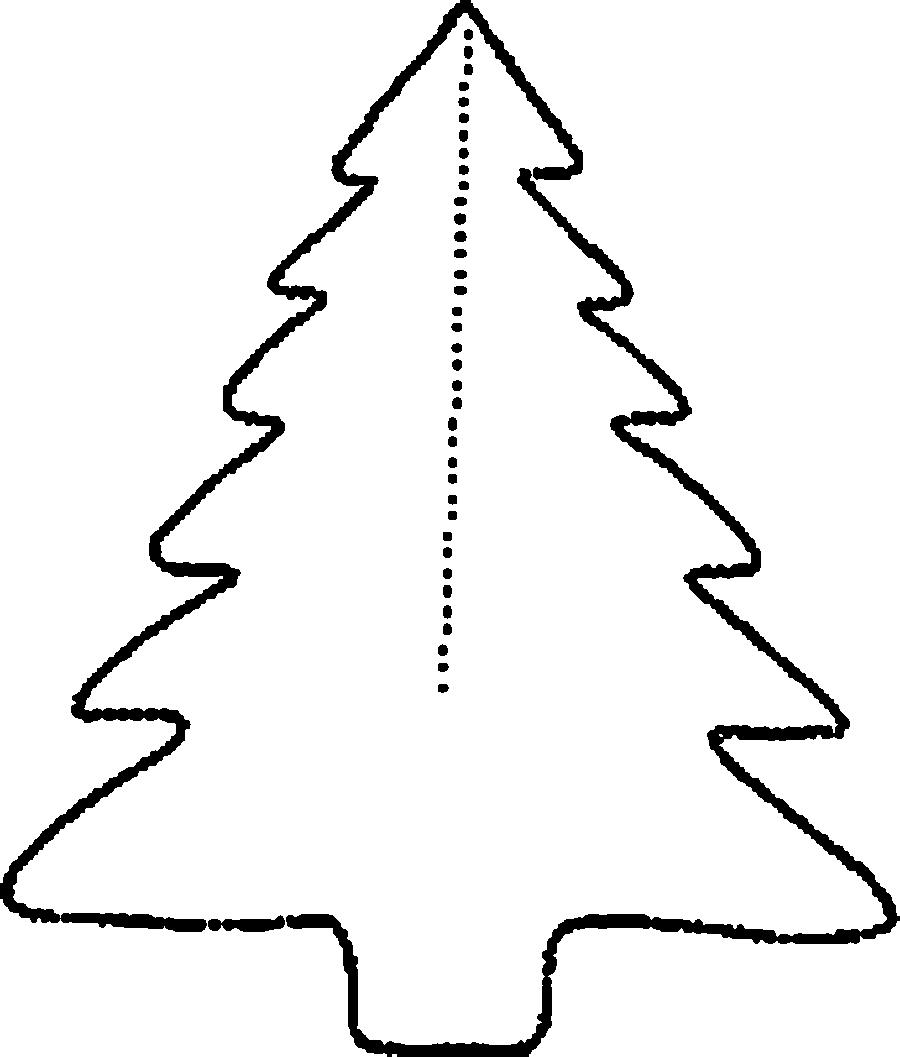 Coloring Christmas tree pattern to cut paper spruce Christmas decorations for