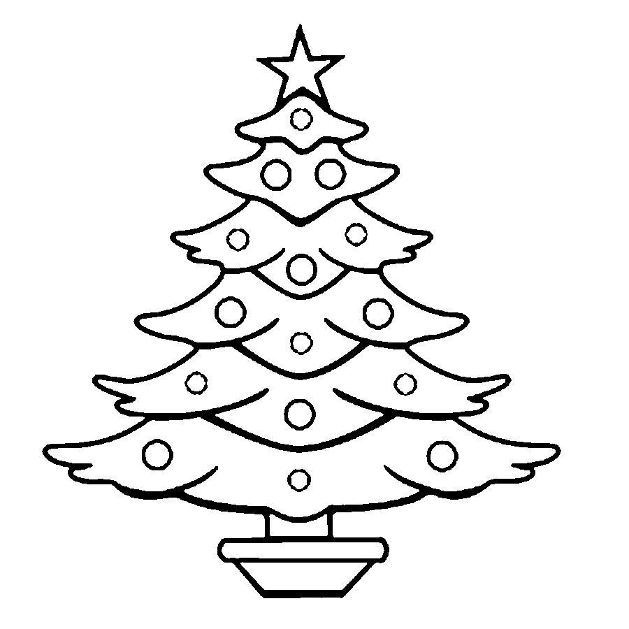 Розмальовки Новорічна ялинка шаблон для вирізання з паперу ялина з іграшками в підставці