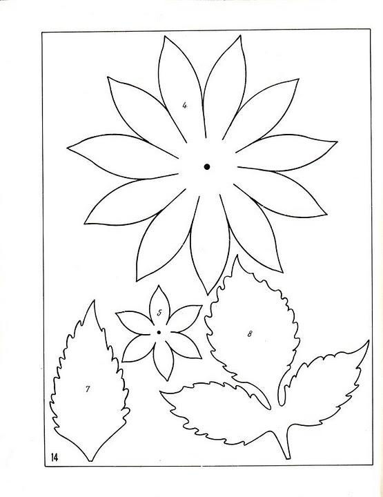 Coloring Flowers templates for cutting flower applique in kindergarten templates