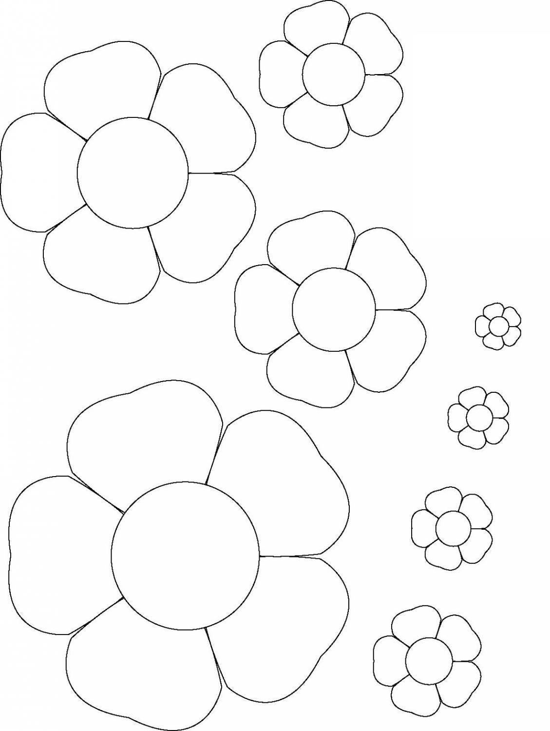 Coloring Flowers templates for cutting template colors