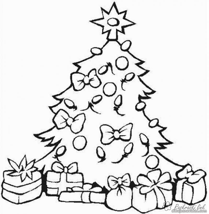 Coloring gifts coloring pages books for children, black and white pictures, new year, holiday, winter, tree