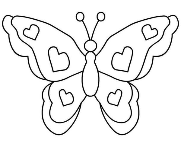 Coloring cutting Butterfly with hearts for cutting paper