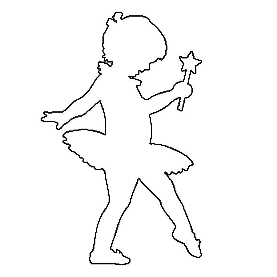 Coloring cutting ballerina girl outline for cutting paper