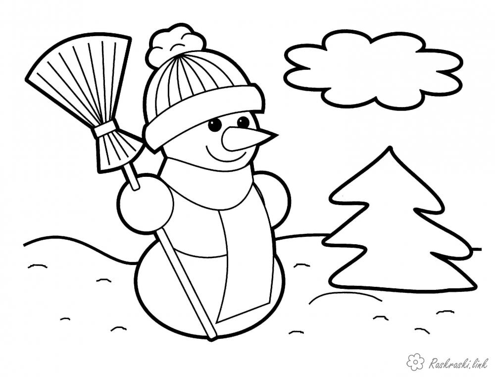 Розмальовки сніговик розмальовки дітям, чорно-білі картинки, новий рік, свято, зима, сніговик