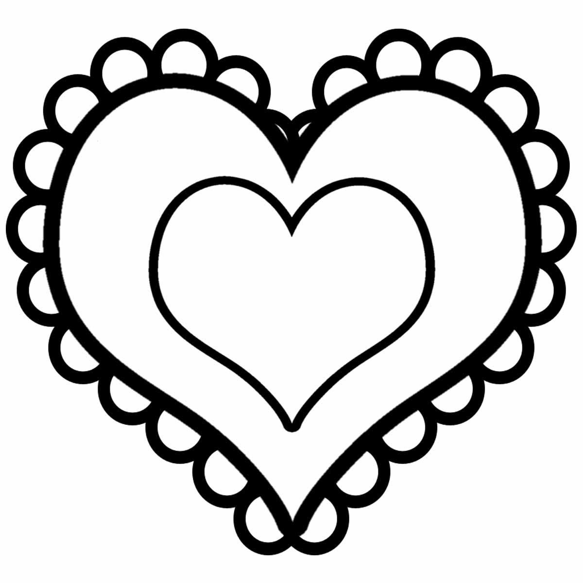 Coloring templates for cutting out hearts  double heart with lace for cutting paper