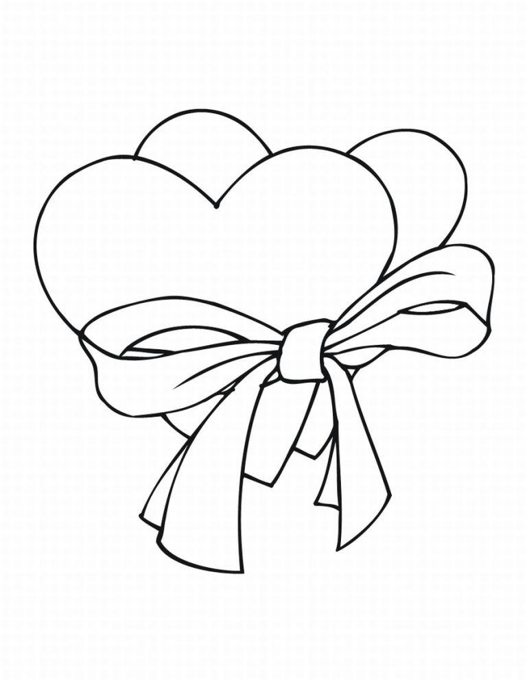 Coloring templates for cutting out hearts  heart with a ribbon for cutting paper