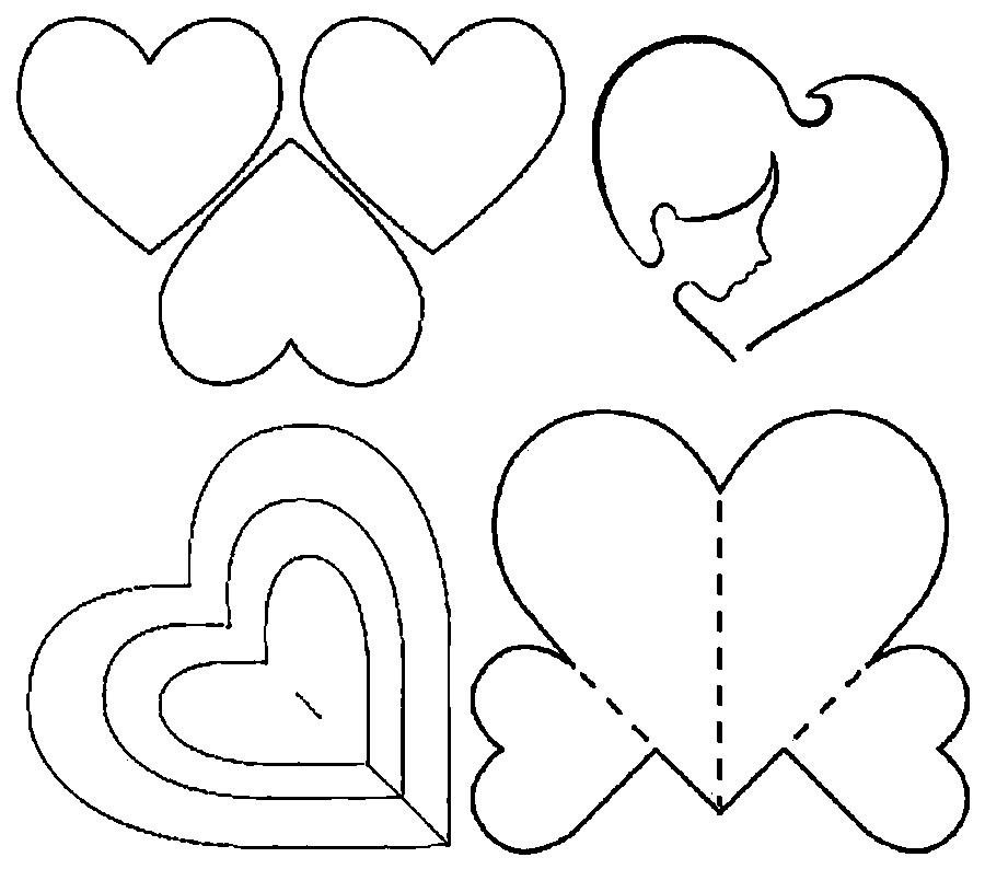 Coloring templates for cutting out hearts  Heart Pattern Paper