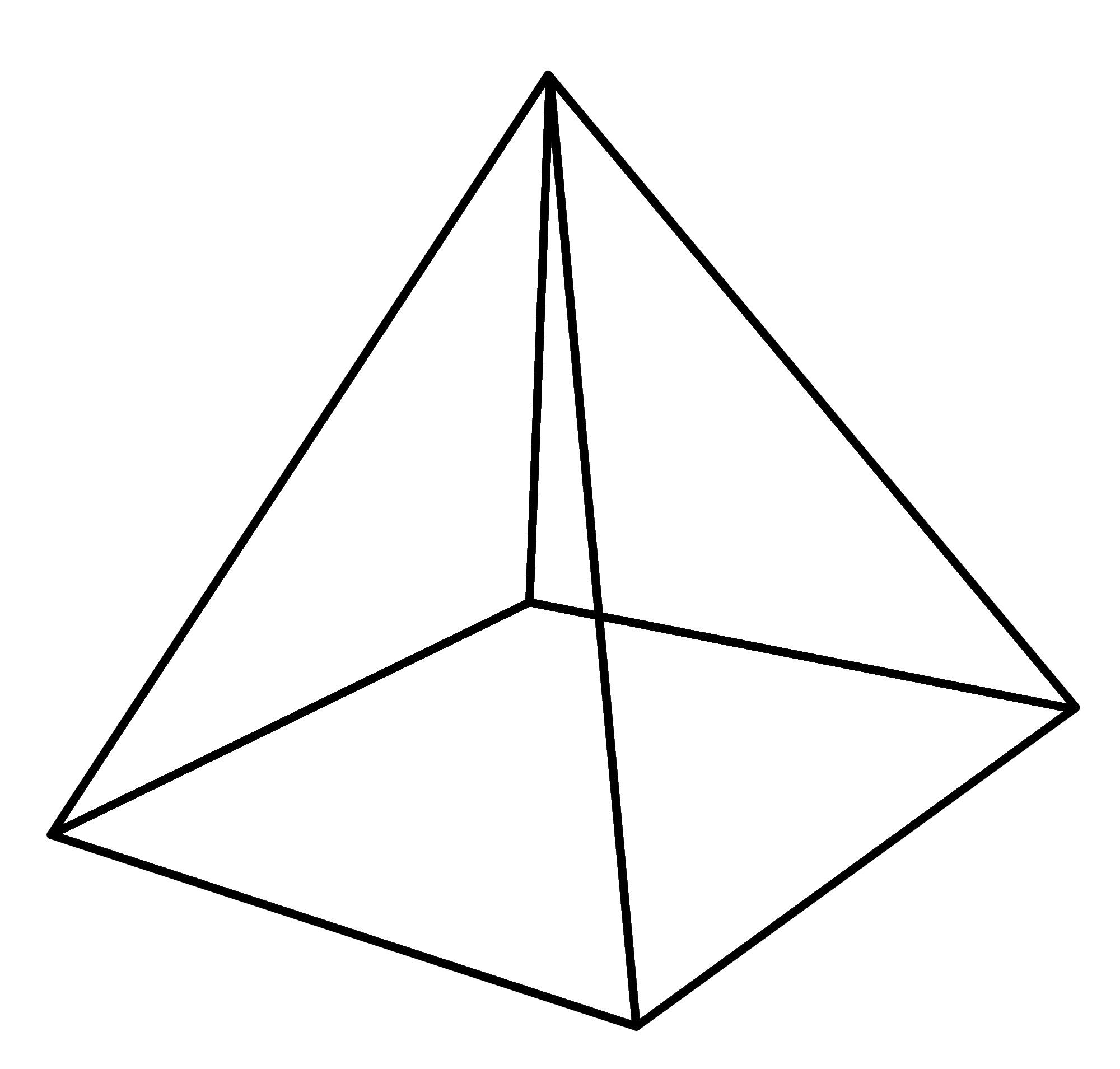 Coloring geometric shapes made of paper Pyramid layout, the pyramid pattern paper