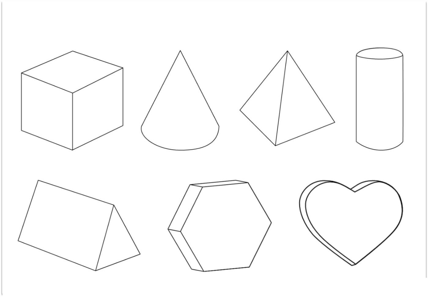 Coloring geometric shapes made of paper volumetric geometric shapes circuit patterns