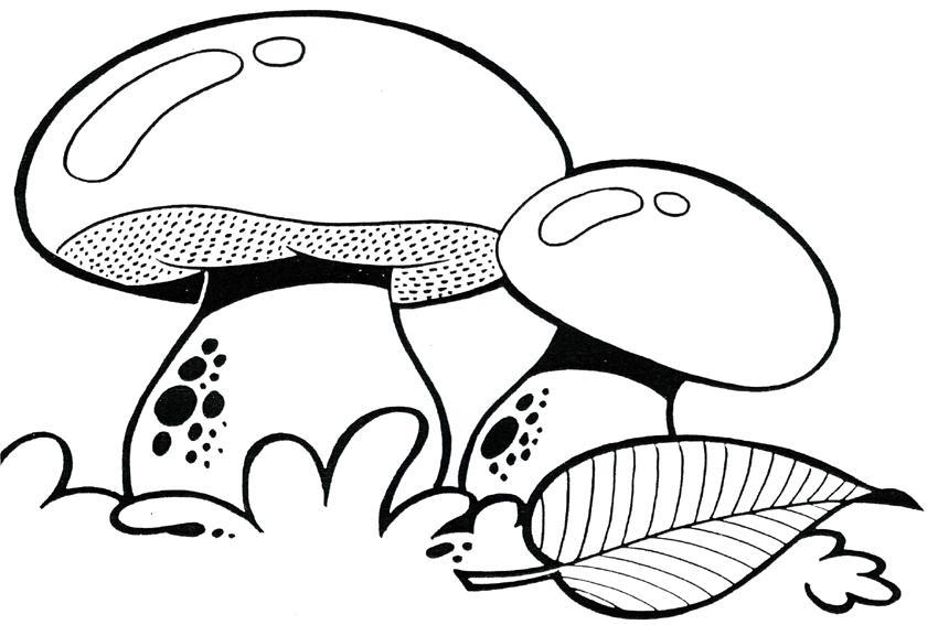 Розмальовки шаблон гриба Грибочки в траві для вирізання з паперу