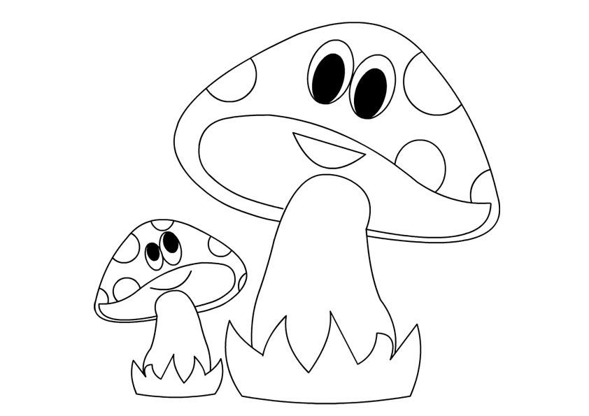Coloring Pattern fungus funny mushrooms, simple templates for children
