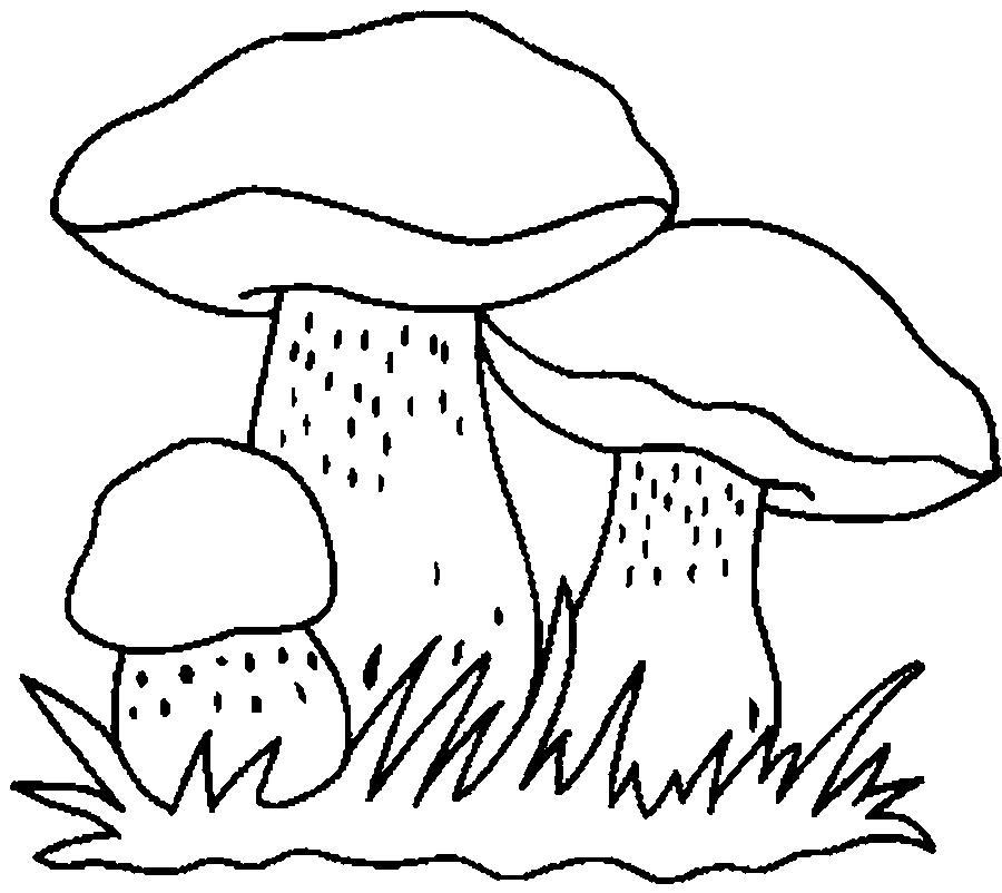 Розмальовки шаблон гриба трьох грибочка, контури для вирізання з паперу