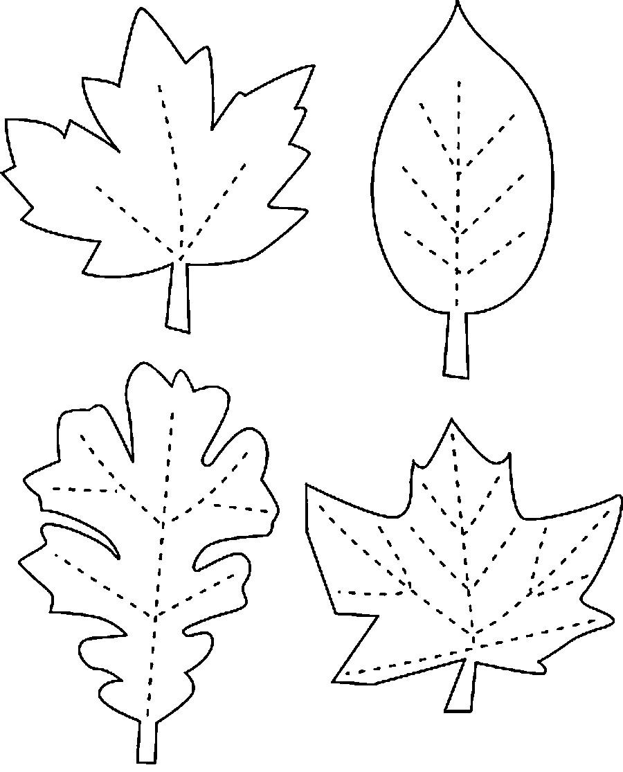Розмальовки виробів осіннє листя контури для виробів