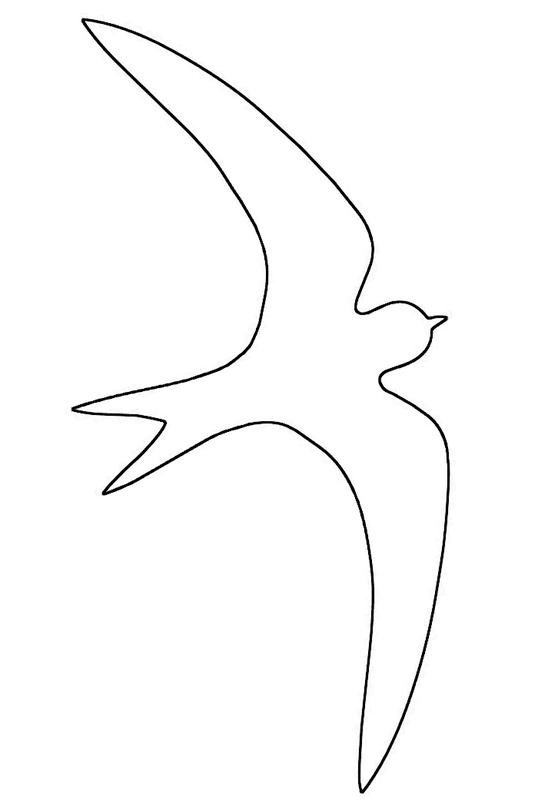 Coloring The contours of birds Swallow circuit bird contour for cutting paper