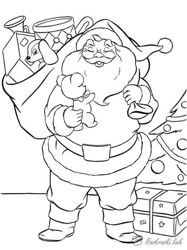 Раскраски зима раскраски детям, черно-белые картинки, новый год, праздник, зима, дед мороз, подарки